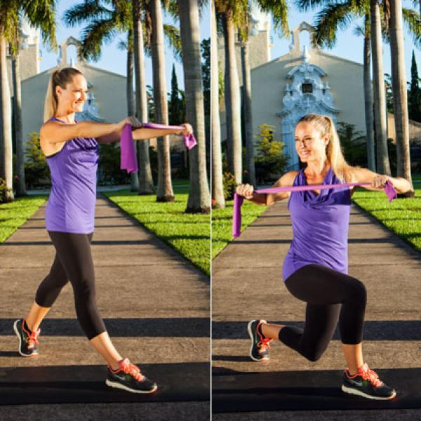 <strong>Targets:</strong> Legs, butt, abs, upper back <br><br><strong>How to do it:</strong> Stand in a split stance with you