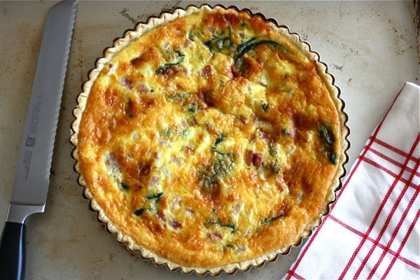 """<strong>Get the <a href=""""http://acozykitchen.com/ham-spinach-and-gruyere-quiche/"""">Ham, Spinach and Gruyére Quiche Recipe</a>"""