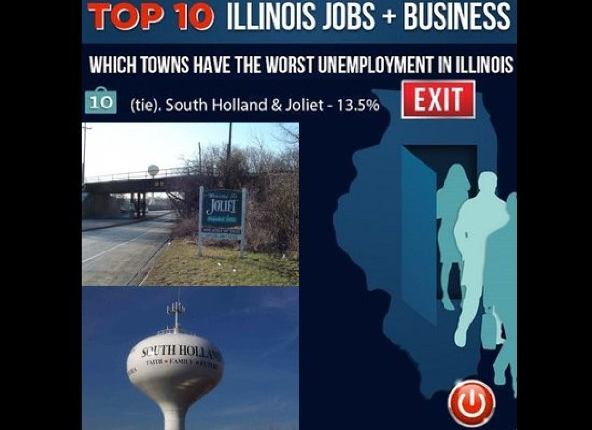 South Holland and Joliet are tied for the 10th-worst unemployment in Illinois at 13.5 percent.