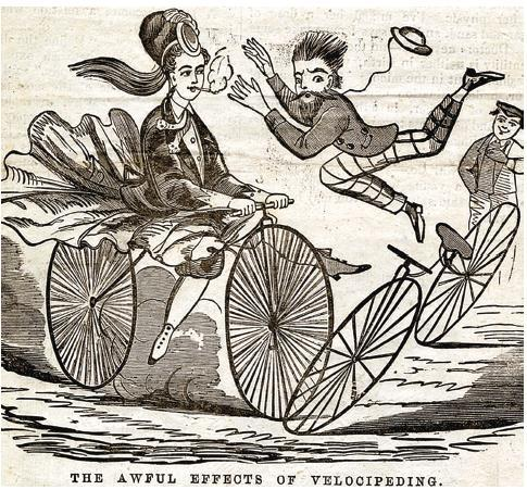 """""""Velocipede"""" by Kate Beaton pokes fun at a time when women on bicycles were seen as a public nuisance."""