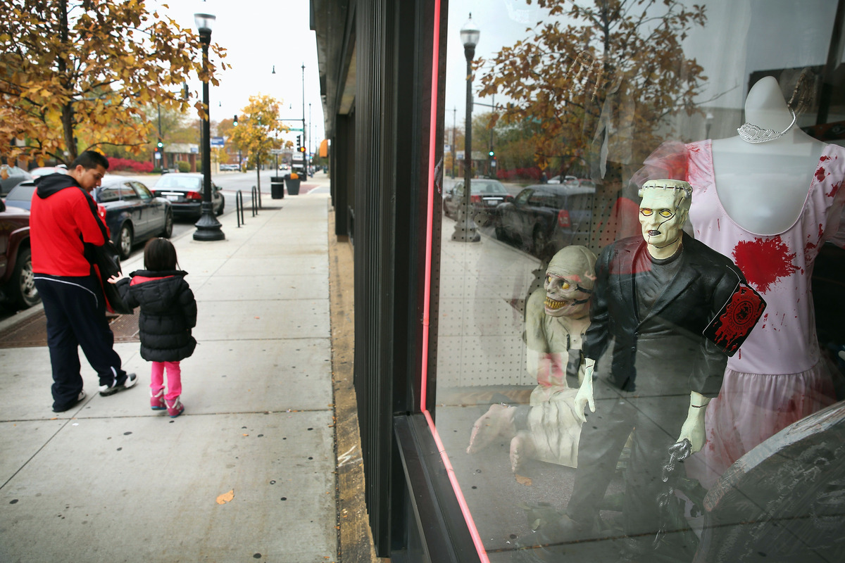 Halloween props are displayed in the window at Fantasy Costumes on October 30, 2013 in Chicago, Illinois. Although Halloween