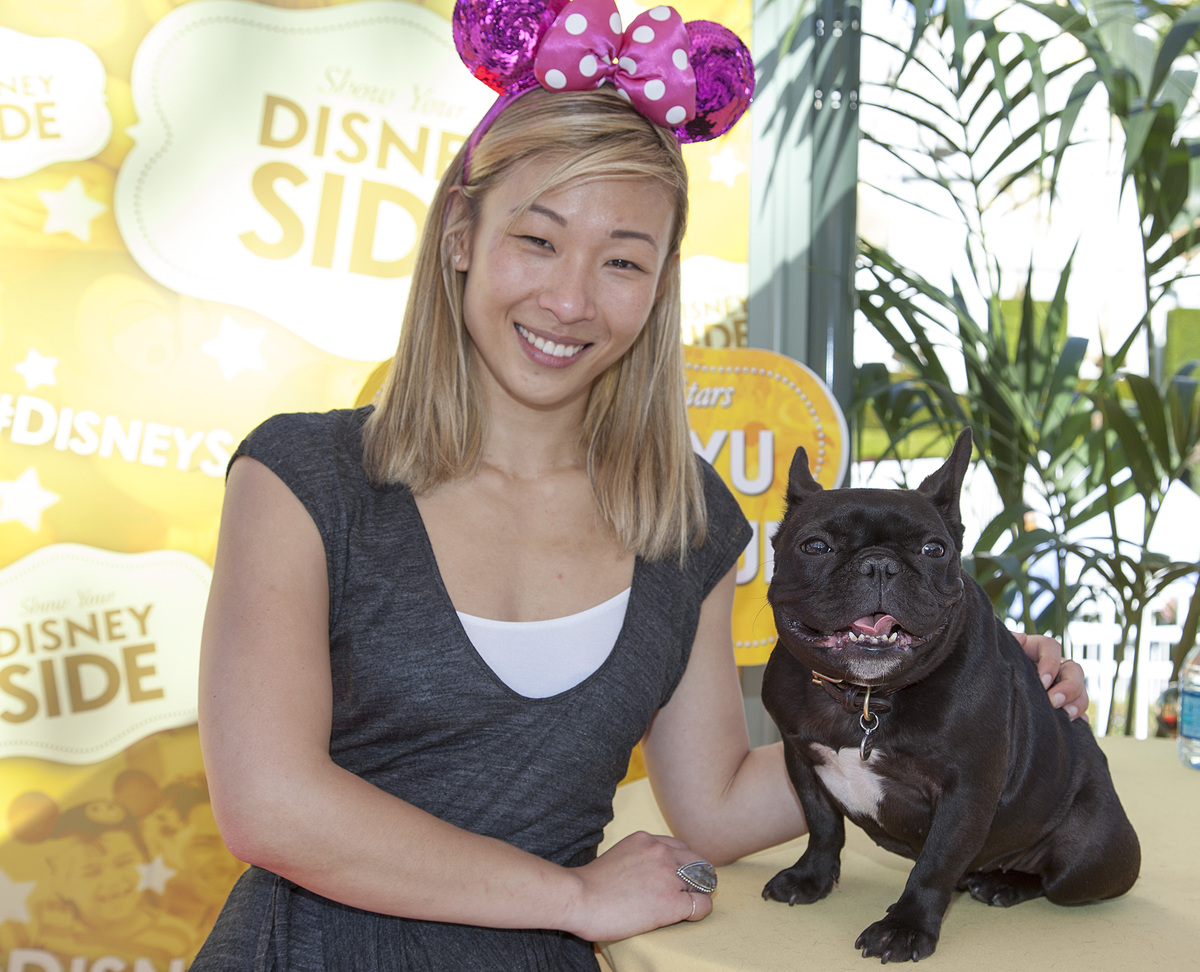 This image released by Disneyland shows Instagram sensation Trotter, a French bulldog with his owner Sonya Yu at a world prem