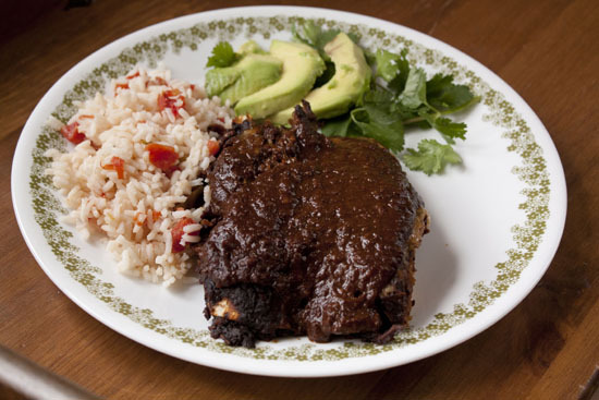 "<strong>Get the <a href=""http://www.macheesmo.com/2012/04/holy-mole/"" target=""_blank"">Traditional Mole Sauce Recipe</a> by Ma"