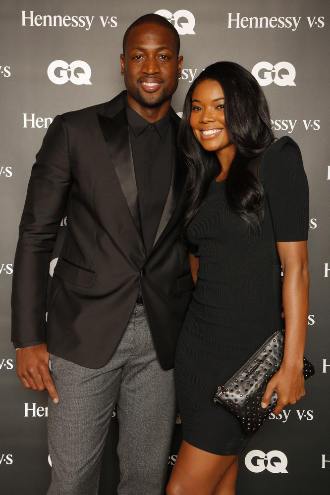 "Miami Heat's Dwyane Wade and Gabrielle Union attend the ""Hennessy V.S Celebrates the GQ MEN Book"" at Hyde Beach at the SLS Ho"