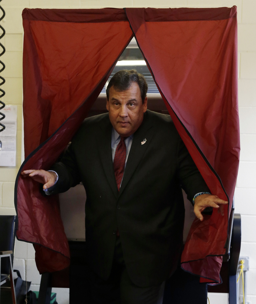 WINNER: Chris Christie  Republican New Jersey Gov. Chris Christie steps from the booth after voting in Mendham Township, N.J.