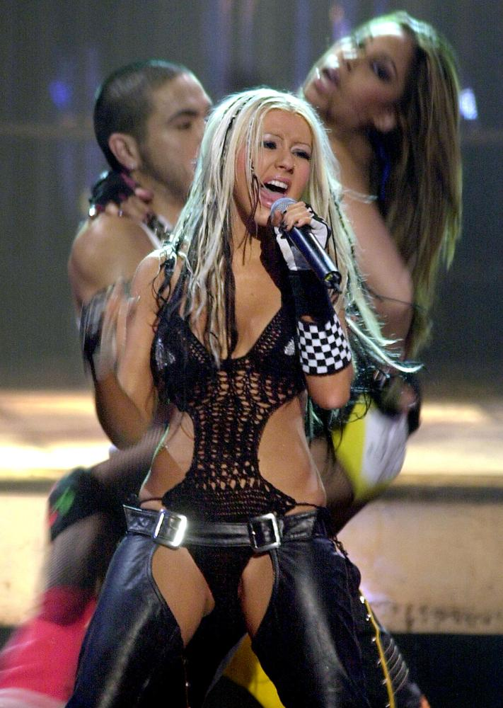 Teen pop star Aguilera generated much controversy over her new persona in 2002 upon the release of her music video for Stripp