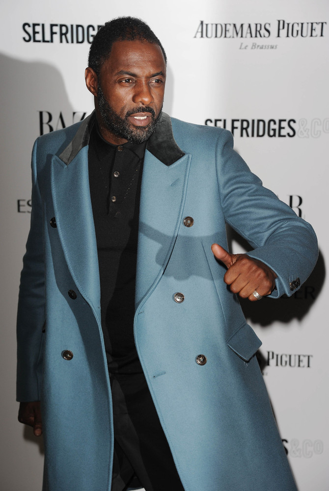 LONDON, ENGLAND - NOVEMBER 05: Idris Elba arrives for the Harpers Bazaar Women Of The Year Awards at Claridges Hotel on Novem