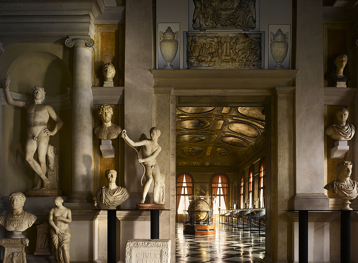 The first-floor entrance lobby to the Biblioteca Marciana (completed in 1564) in Venice is reached by a dramatic and richly d