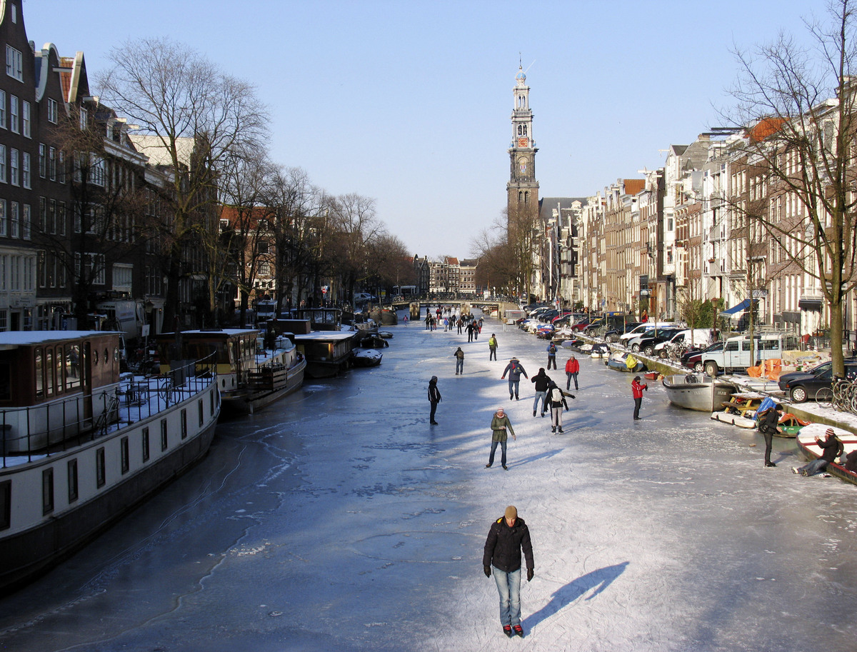 When it gets so cold that you can ice skate on canals, like the Prinsengracht canal in Amsterdam, Netherlands.  (AP Photo/Mar