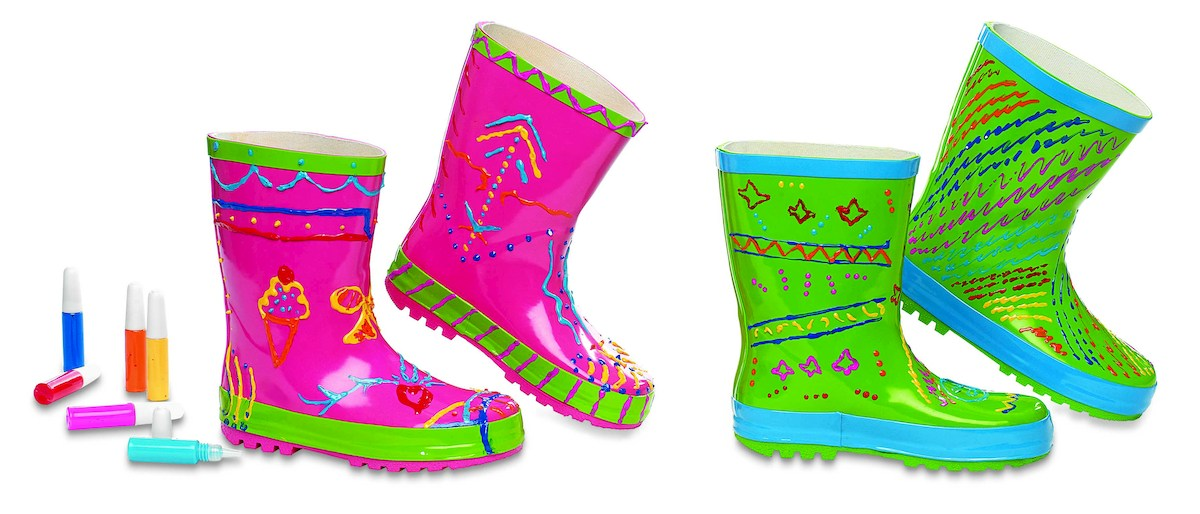Two of childhood's very best features collide in one great gift that turns a craft project into fashionable puddle jumpers.