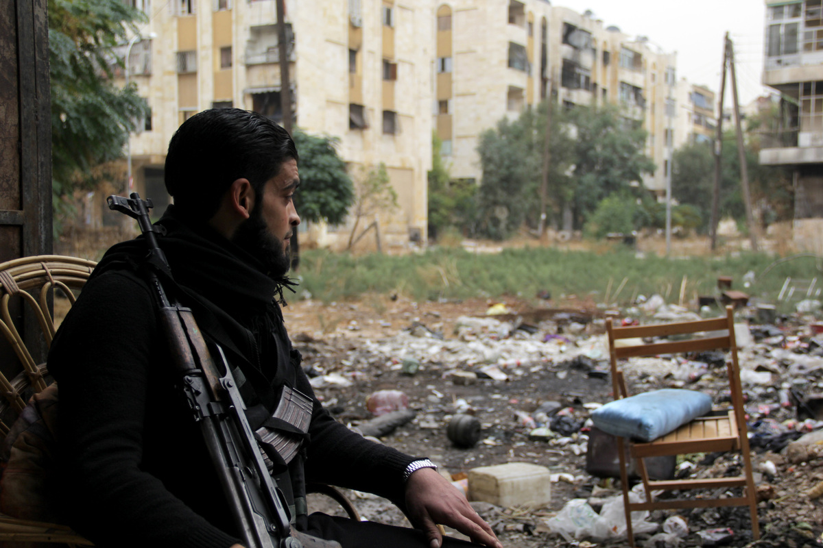 A rebel fighter is pictured on November 7, 2013, in the northern city of Aleppo. The Syrian conflict has killed more than 120