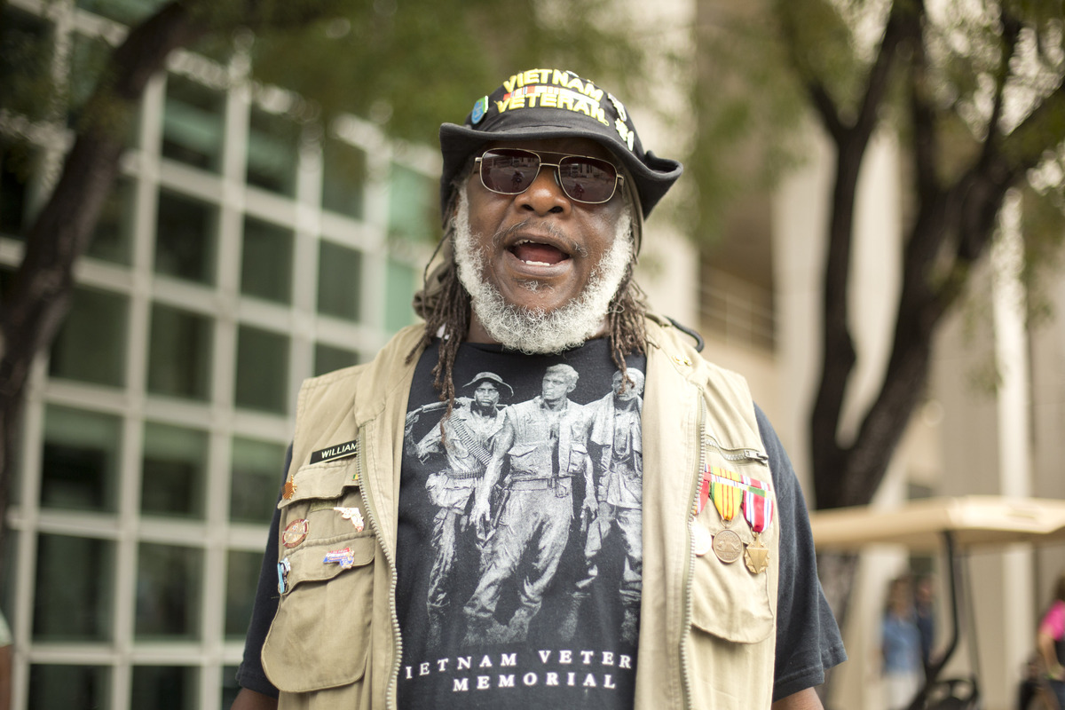 Skip Williams, who served in Vietnam from 1971 to 1972, waits for the Golden Veterans Parade to start in Miami, Friday, Nov.