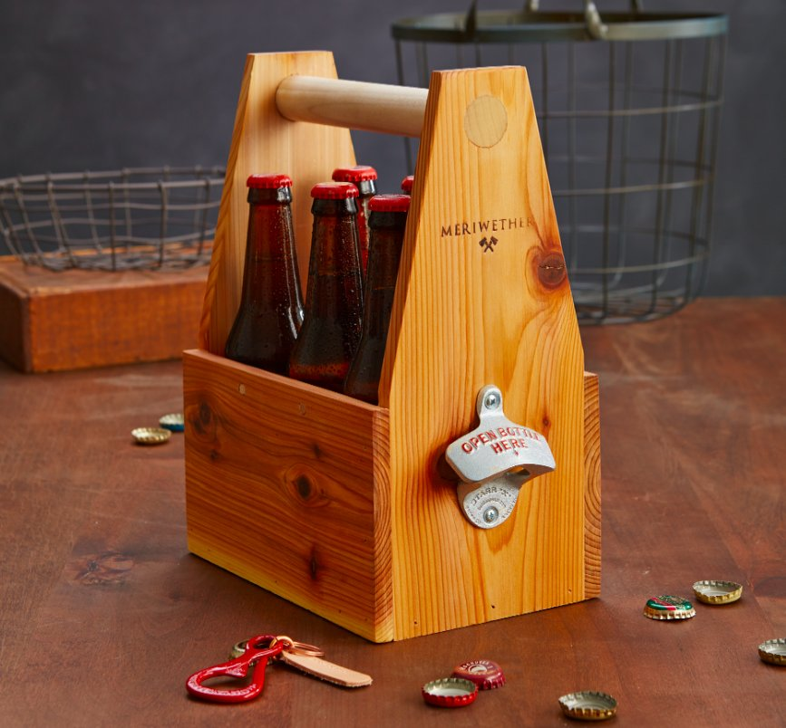 Equal parts convenient, classy and conversation-starter, this red cedar 6-pack holder is too cool for school. (No, really. Do