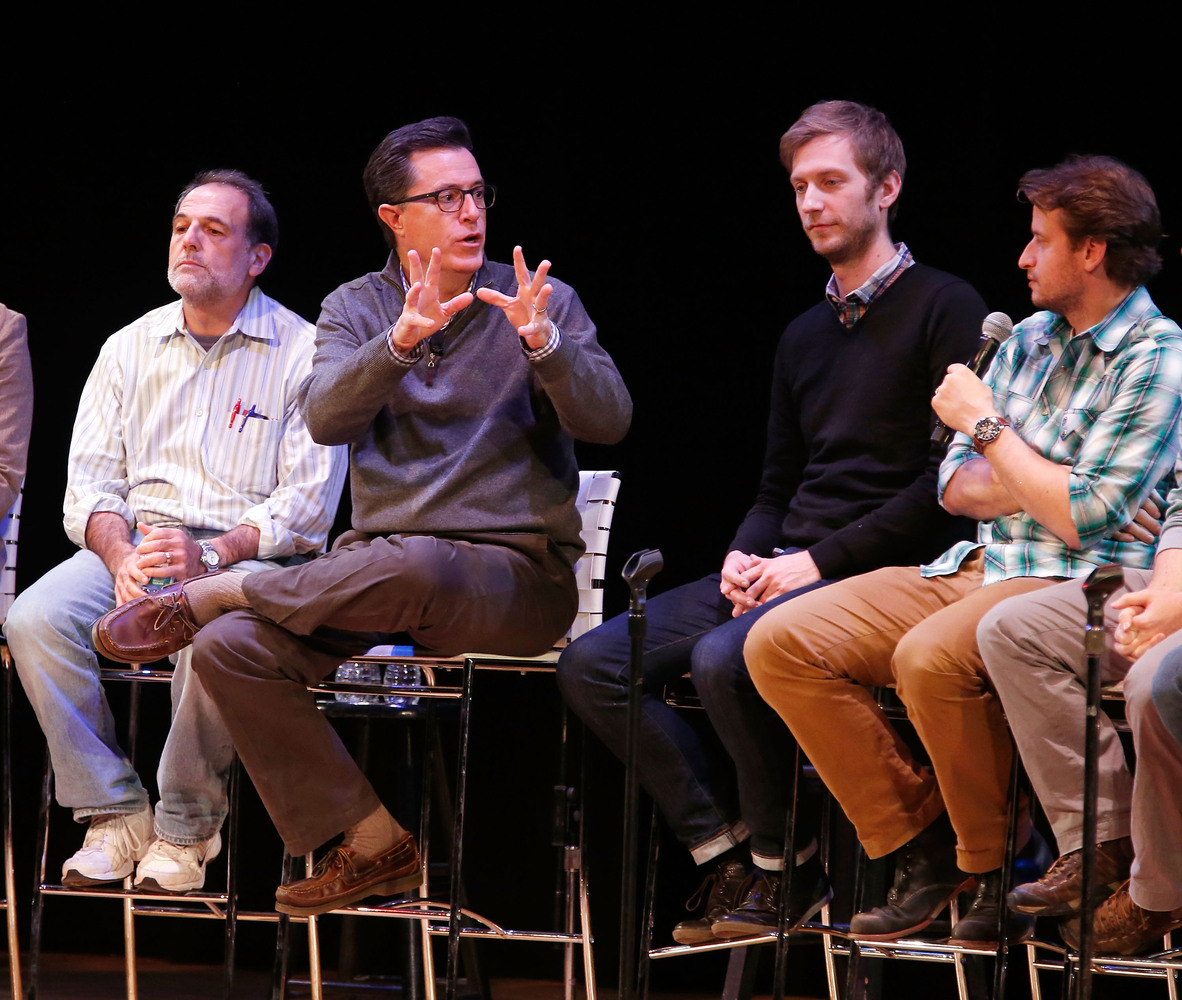 NEW YORK, NY - NOVEMBER 07:  Comedian/media personality Stephen Colbert speaks on stage with a panel of writers from the 'Ste
