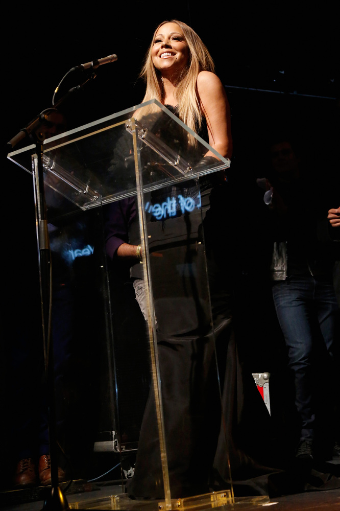 NEW YORK, NY - NOVEMBER 14:  Mariah Carey speaks onstage at the 19th Annual Out100 Awards presented by Buick at Terminal 5 on