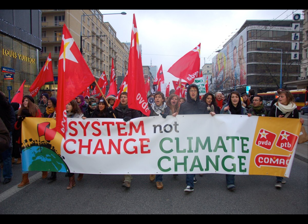 Photos from the march for climate action outside the UN Climate Talks in Warsaw, Poland.