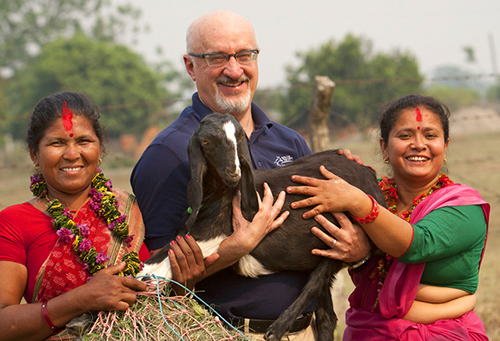 During a Passing on the Gift ceremony, I symbolically passed on a goat from women in Guatemala to women in the Chitwan region