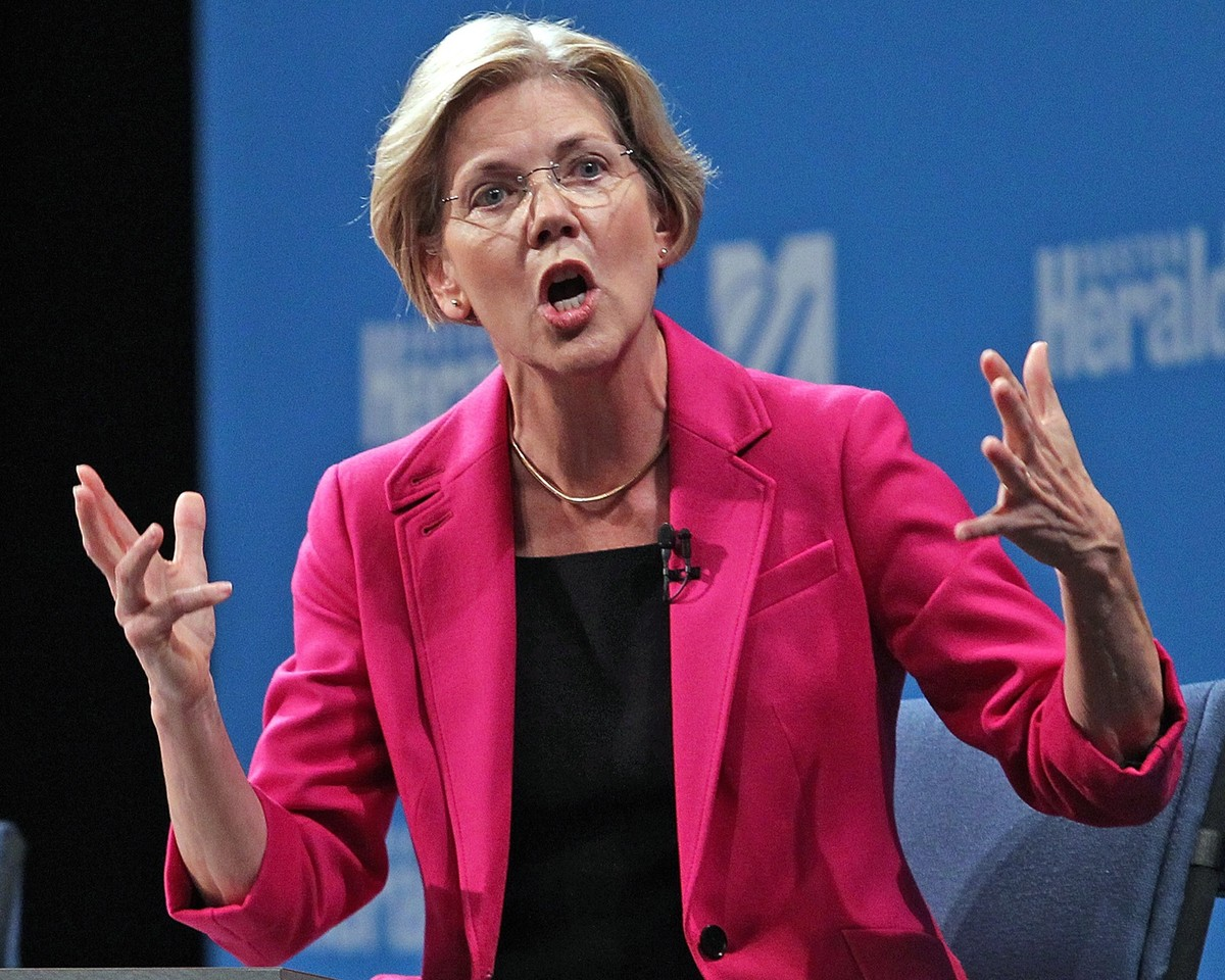 Democratic challenger Elizabeth Warren gestures during her debate against Republican U.S. Sen. Scott Brown, sponsored by the
