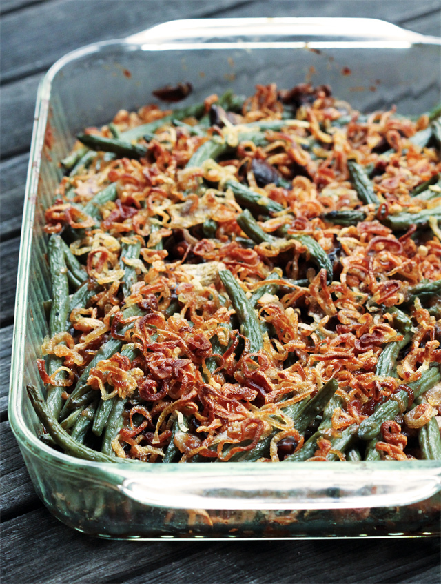 """<strong>Get the <a href=""""http://www.kitchenkonfidence.com/2011/11/green-bean-casserole/"""">Green Bean Casserole with Crispy Sha"""