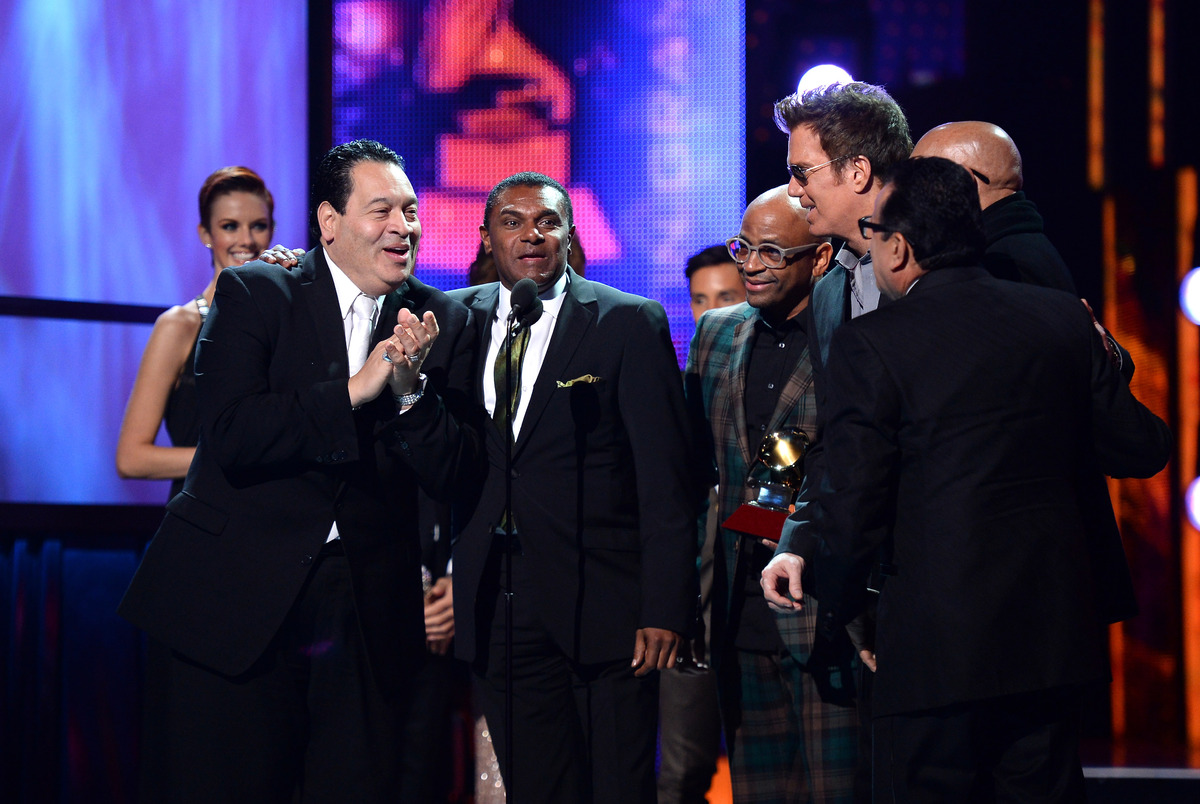 Tito Nieves, José Alberto, Sergio George, Willy Chirino, Oscar D'Leon and Ismael Miranda, of the Salsa Giants, received their