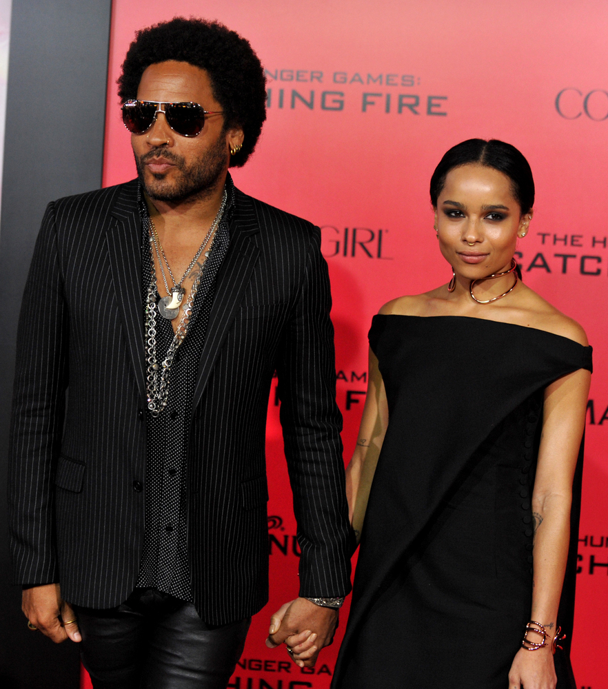 "Lenny Kravitz, left, and Zoe Kravitz arrive at the Los Angeles premiere of ""The Hunger Games: Catching Fire""  at Nokia Theatr"