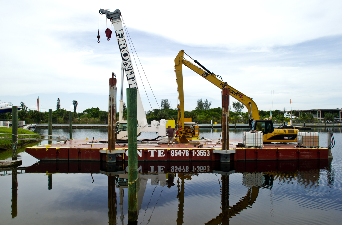 The barge that will serve as the gator's head, complete with a mouth that opens and closes.