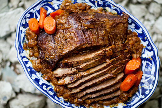 "<strong>Get the <a href=""http://www.simplyrecipes.com/recipes/beef_brisket_pot_roast/"">Beef Brisket Pot Roast recipe from Sim"