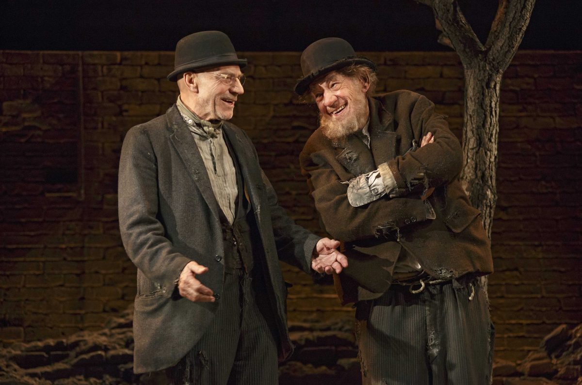 """This photo provided by Boneau/Bryan-Brown shows Patrick Stewart, left, and Ian McKellen in Samuel Beckett's play """"Waiting for"""