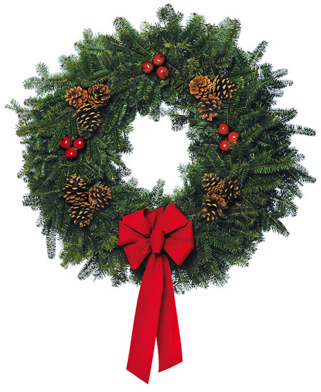 A wreath always adds a festive touch to the home, and it comes in all price ranges and colours. You can go with a traditional