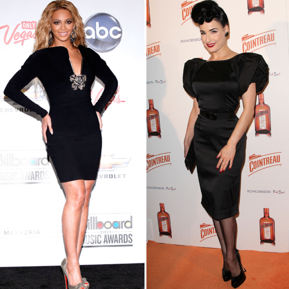 Beyonce and Dita Von Teese are hourglass shaped, meaning their bust and hips are the same size, their waist is tiny and their