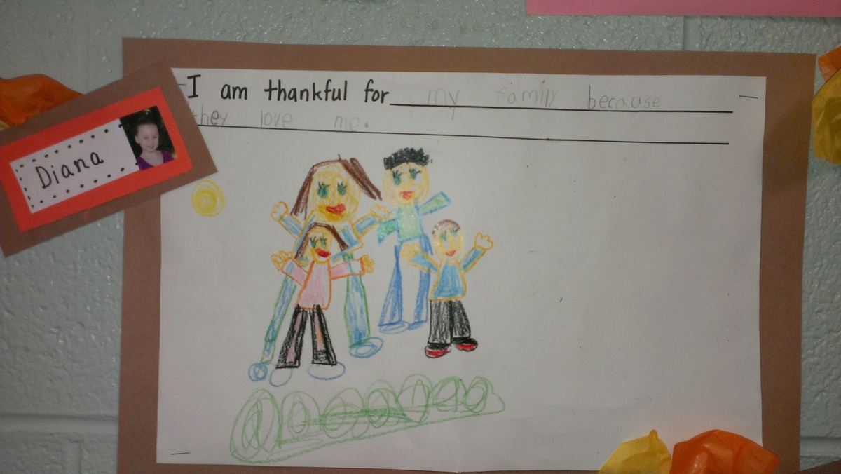 (I'm thankful for my family because they love me)