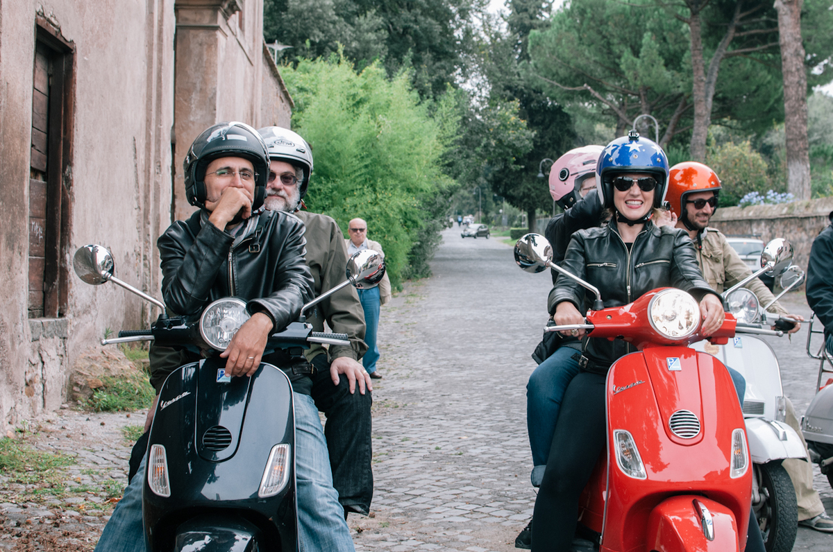 Annie and her Italian husband Giovanni lead their clients on a tour of the historic Appian Way, the road that connects Rome t