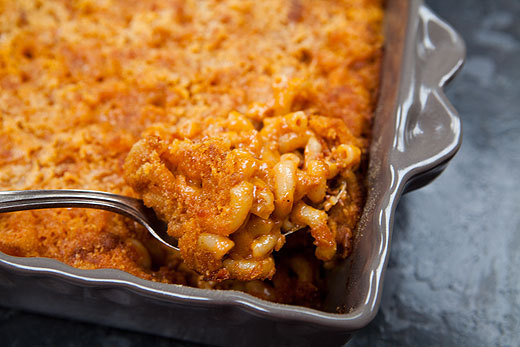 """<strong>Get the <a href=""""http://www.simplyrecipes.com/recipes/chorizo_mac_and_cheese/"""">Chorizo Mac and Cheese recipe</a> by S"""