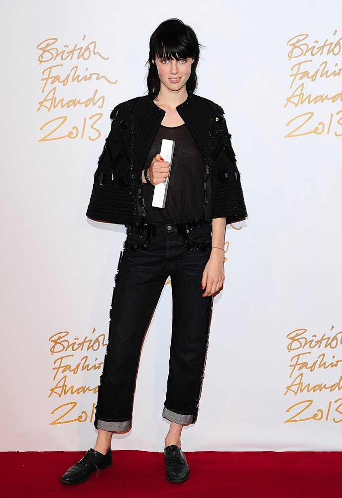 Edie Campbell with the award for Model of the Year, during the 2013 British Fashion Awards, at The London Coliseum, St Martin