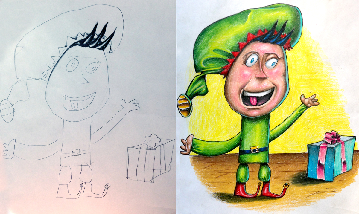 a tattoo artist colored in his 4 year old daughters line drawing the results were pretty epic huffpost