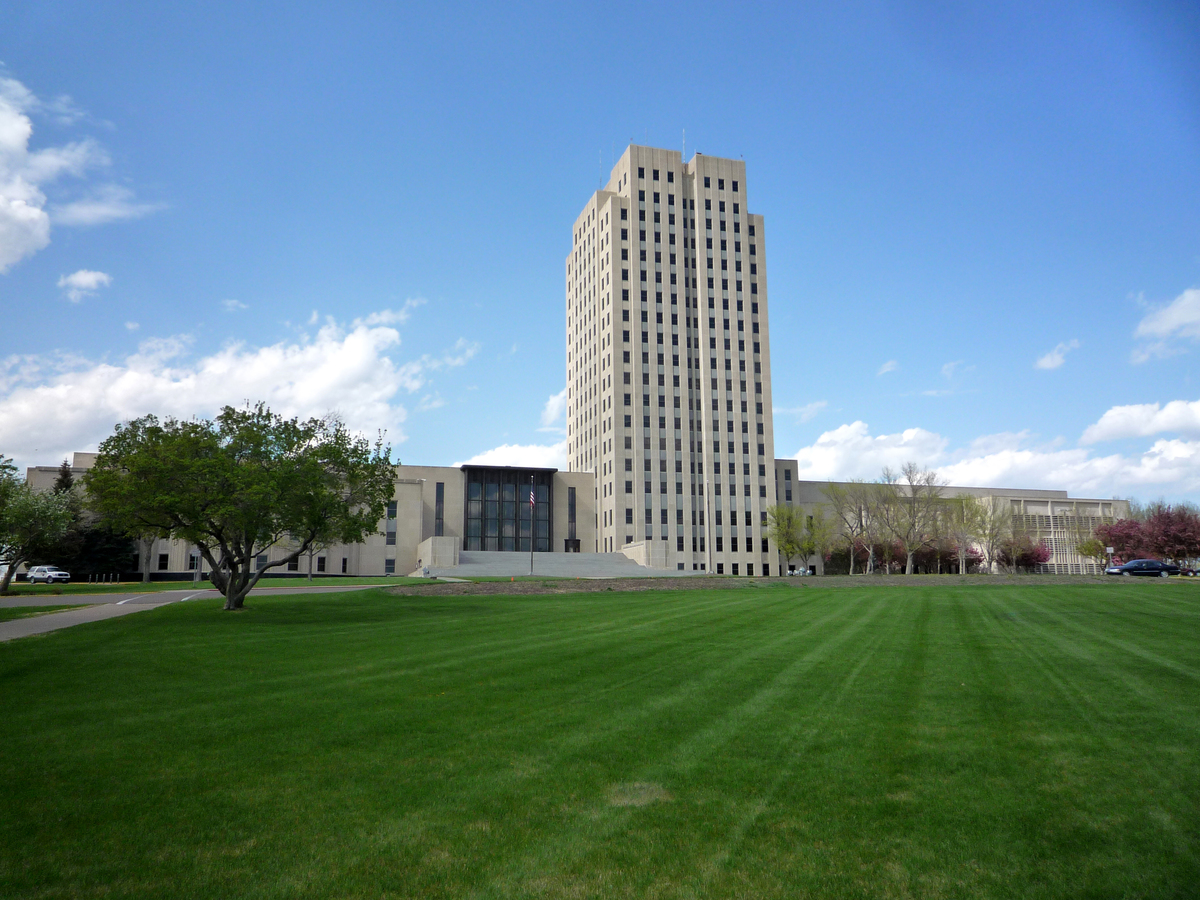 Rising high on the Great Plains, the State Capitol in Bismarck is the most phallic image we could find from North Dakota, who