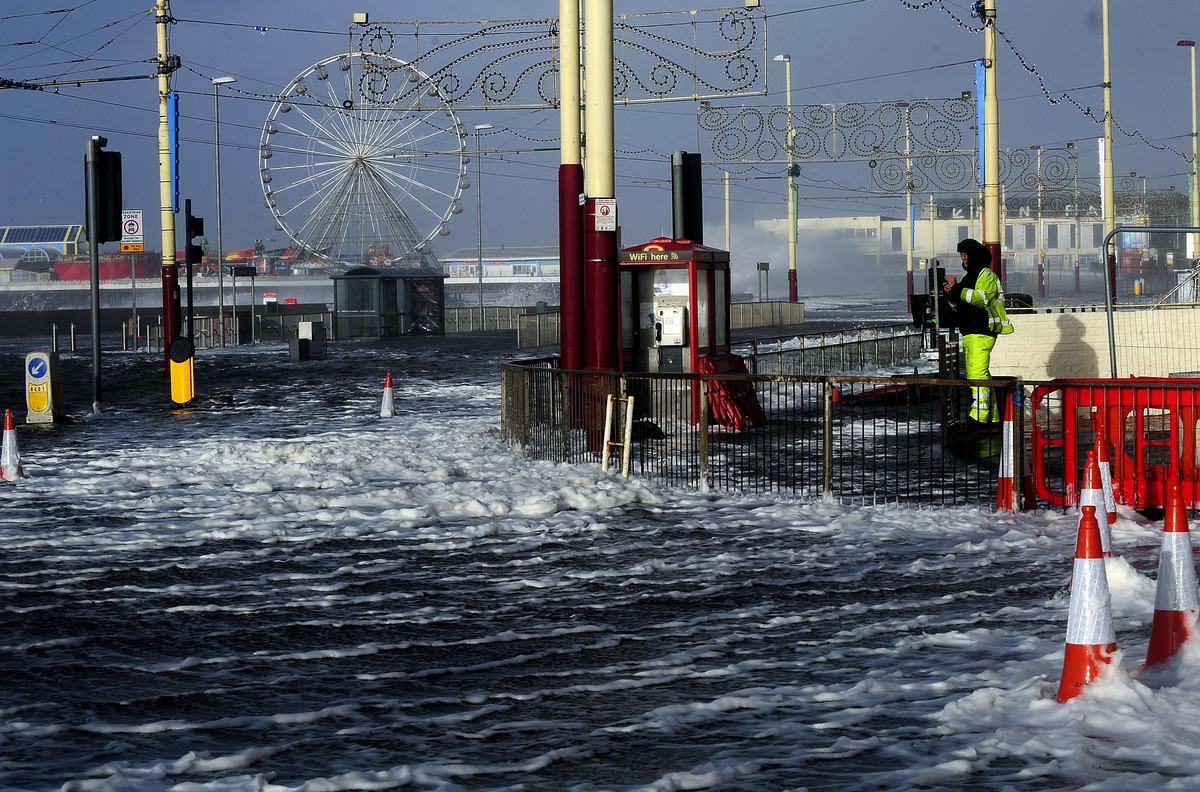 Blackpool Main Promenade under flood water following high tide and a tidal surge