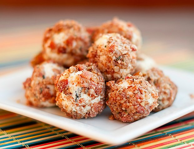 "<strong>Get the <a href=""http://www.bunsinmyoven.com/2012/02/01/goat-cheese-bacon-balls/"" target=""_blank"">Goat Cheese Bacon B"