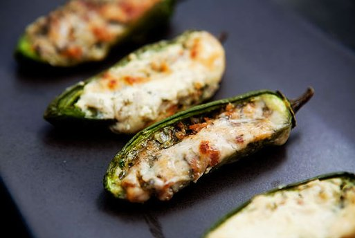 "<strong>Get the <a href=""http://www.simplyrecipes.com/recipes/baked_stuffed_jalapenos/"" target=""_blank"">Baked Stuffed Jalapen"