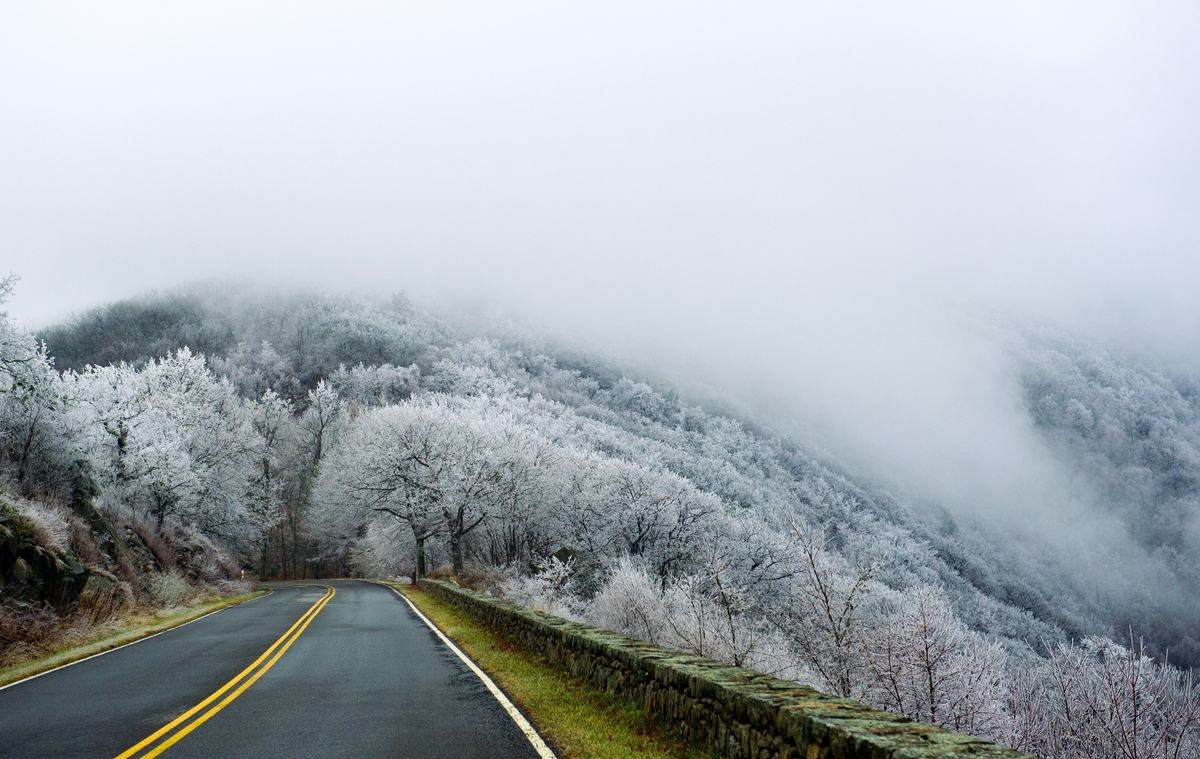 A winter scene created by frigid temperatures and moisture from the low lying clouds ON December 7, 2013 in the Shenandoah Na