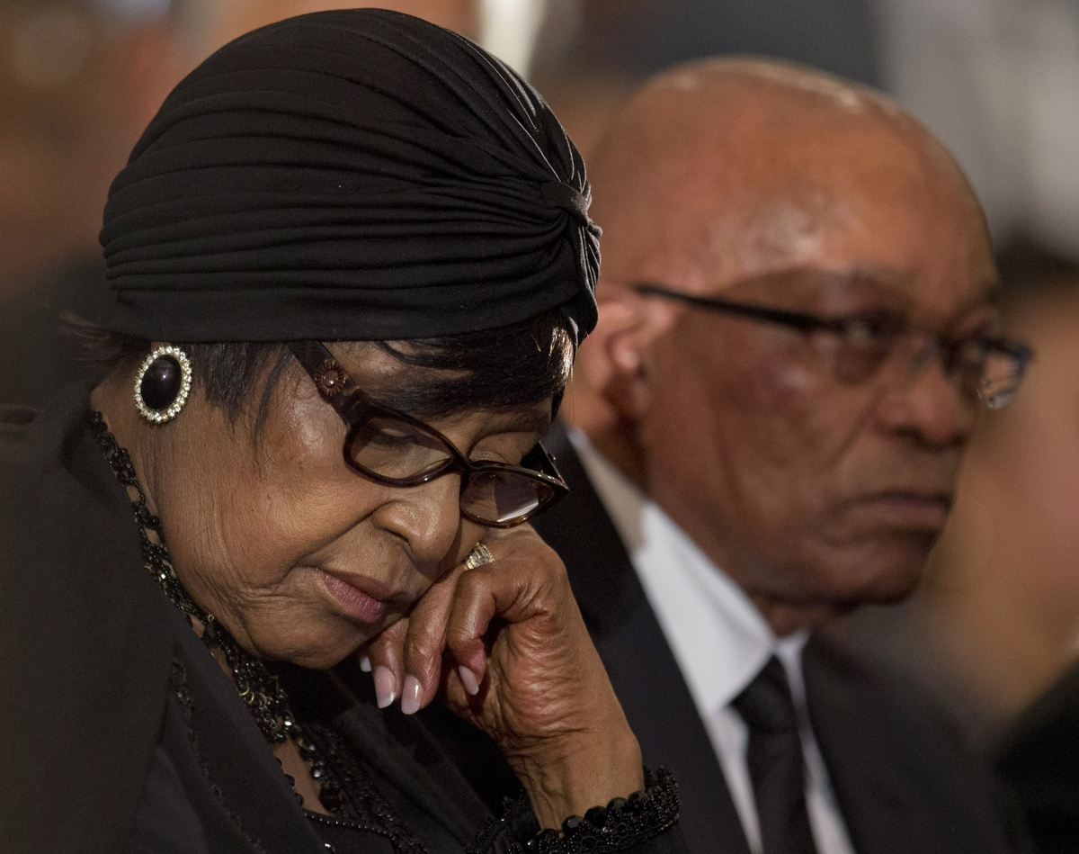 Winnie Madikizela-Mandela, left, Nelson Mandela's former wife, and South African President Jacob Zuma attend a memorial servi