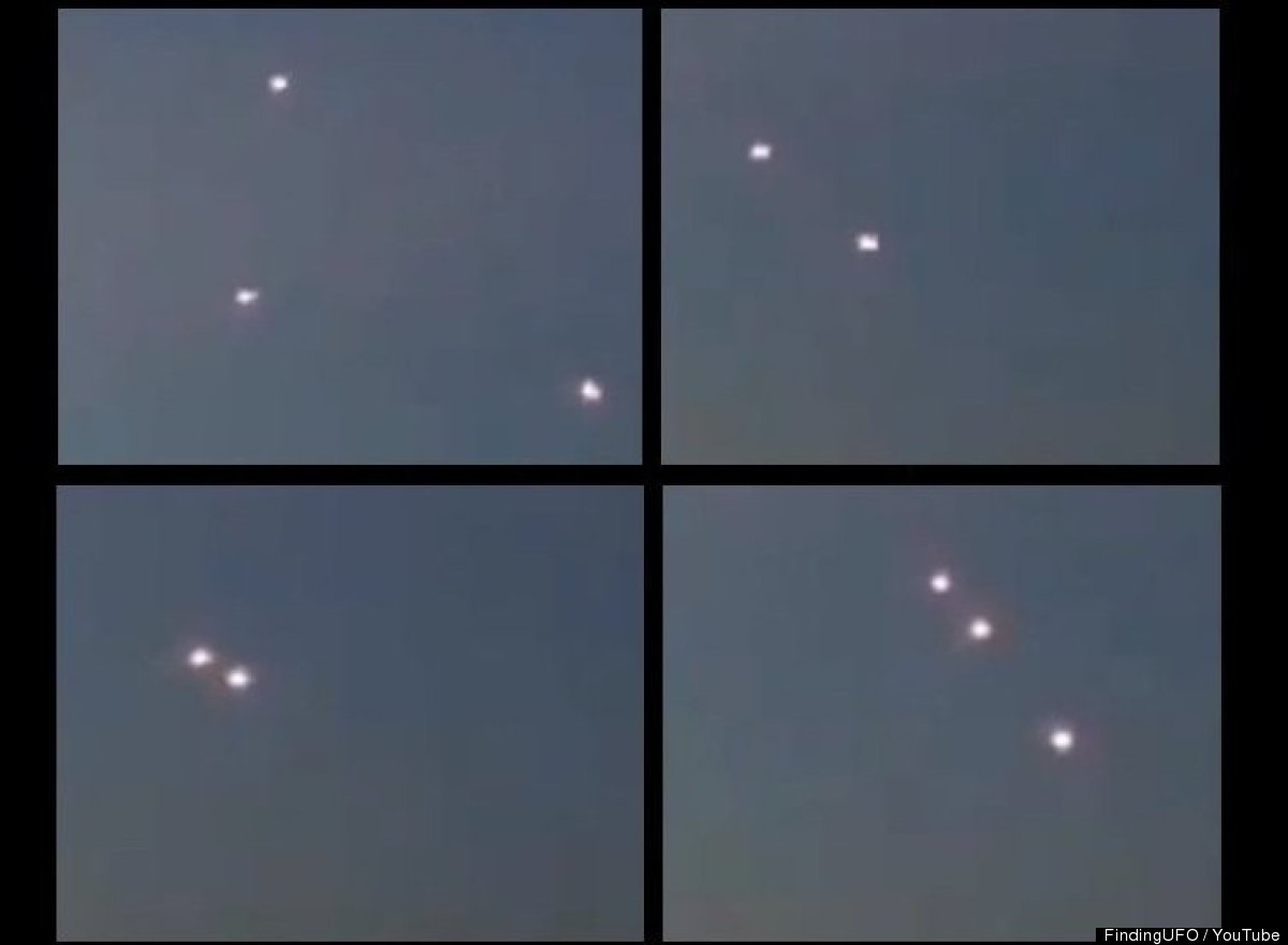 This is a composite image of how three alleged UFOs maneuvered about in the sky over Melbourne, Australia, in early February,