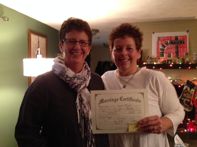 """My partner, Pam Helberg and I married in Washington state yesterday!!"" - Nancy Durant"