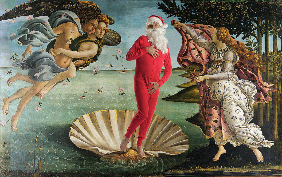 Santa and Botticelli's The Birth of Venus  Original Work: Sandro Botticelli - The Birth of Venus - 1486, Uffizi, Florence