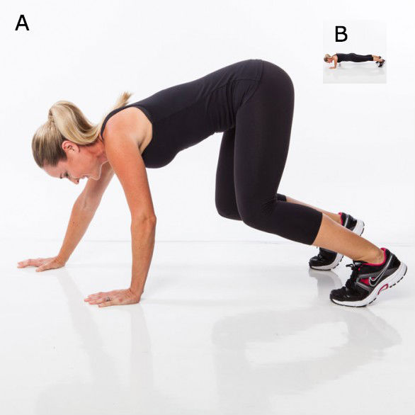<strong>A</strong>: Stand with feet hip width, arms by sides. Bend knees and reach arms to floor, pressing palms flat against