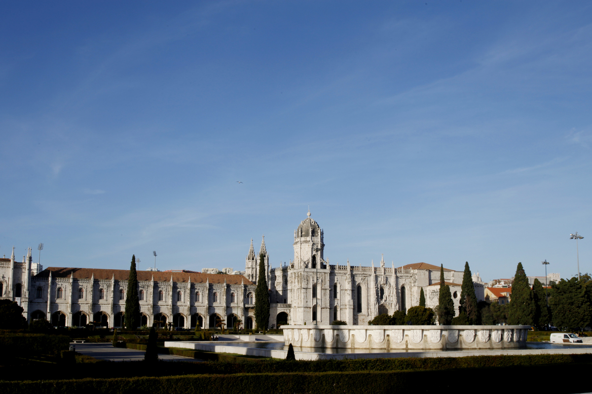 Jeronimos Monastery is seen on December 23, 2013 in Lisbon, Portugal.   The monastery is one of the most prominent monuments