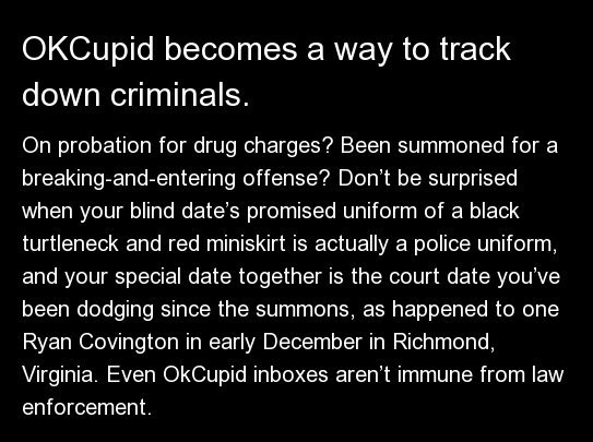 On probation for drug charges? Been summoned for a breaking-and-entering offense? Don't be surprised when your blind date's p