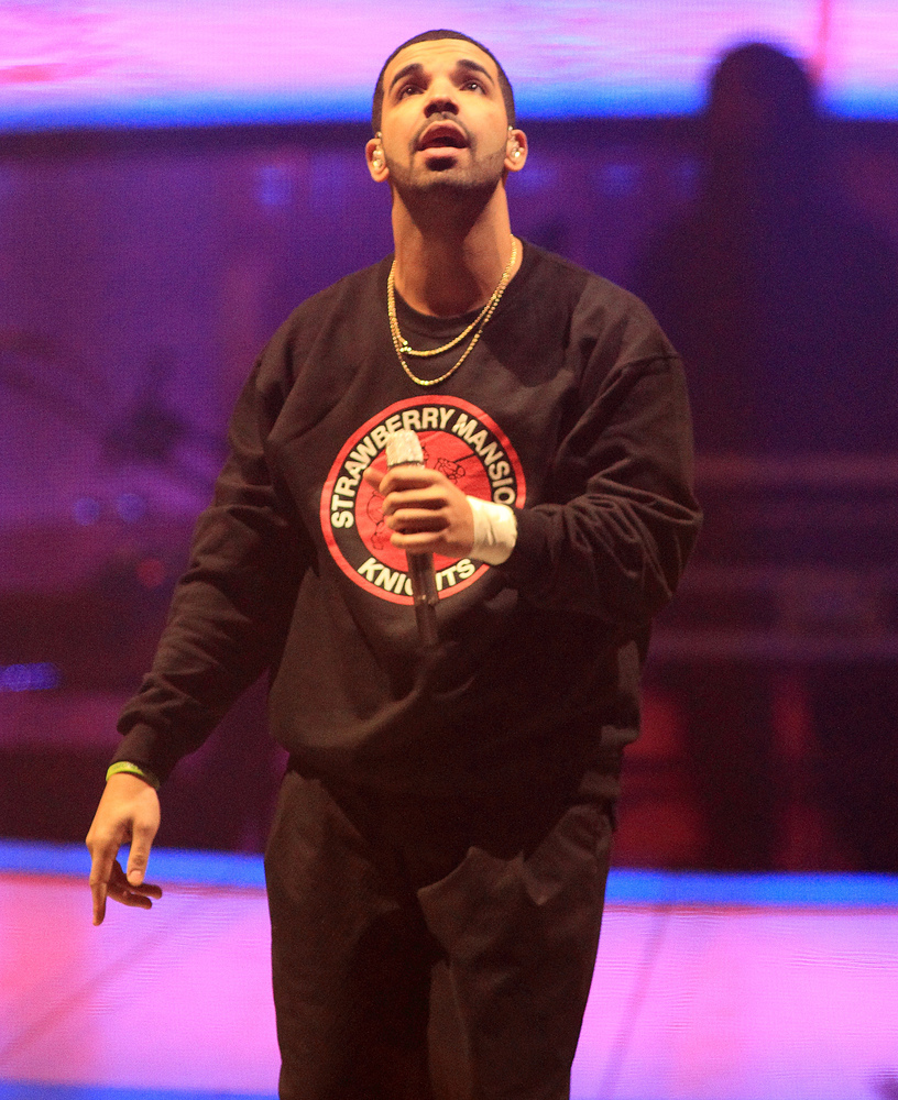 "Rapper Drake performs in concert on the last date of his ""Would You Like A Tour? 2013"" at the Wells Fargo Center on Wednesday"