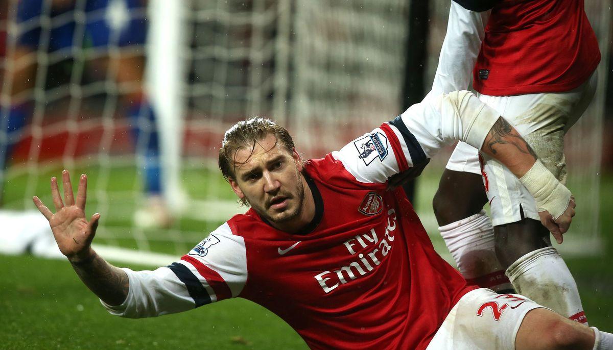 Arsenal's Nicklas Bendtner celebrates scoring during the English Premier League match against Cardiff at the Emirates Stadium