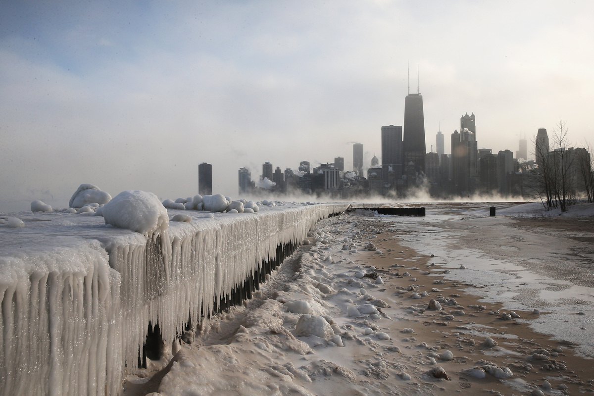 Ice builds up along Lake Michigan at North Avenue Beach as temperatures dipped well below zero on January 6, 2014 in Chicago,